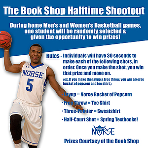 Rules for the Book Shop Halftime Shootout contest.