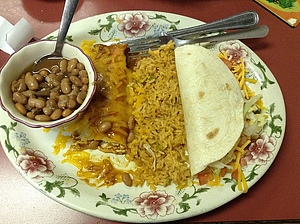 Rice, beans, an enchilada, and a taco = awesome.