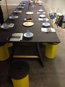 Long shot of the pasta workshop table at the New Art Exchange in Nottingham.