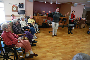 "Fred Scaife and Sarah Bowman, along with fellow students Olive Peterson and Reggie Young, created a ""memory choir"" at Gundersen Harmony Care Center in Harmony, MN."