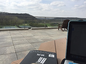 Writing an essay out on the terrace makes the process a little less painful