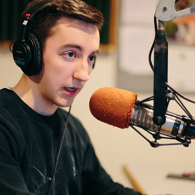 Jack Ross '17, KWLC's co-station manager, hosts a rock music show on Tuesday nights at 10 p.m. Ross is one of more than 60 student DJs who broadcast each week on KWLC.