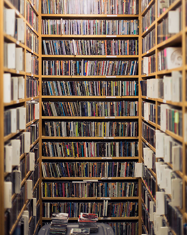 Part of KWLC's extensive music collection.
