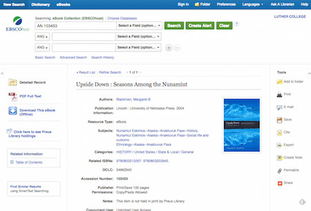Example of EBSCO ebook record