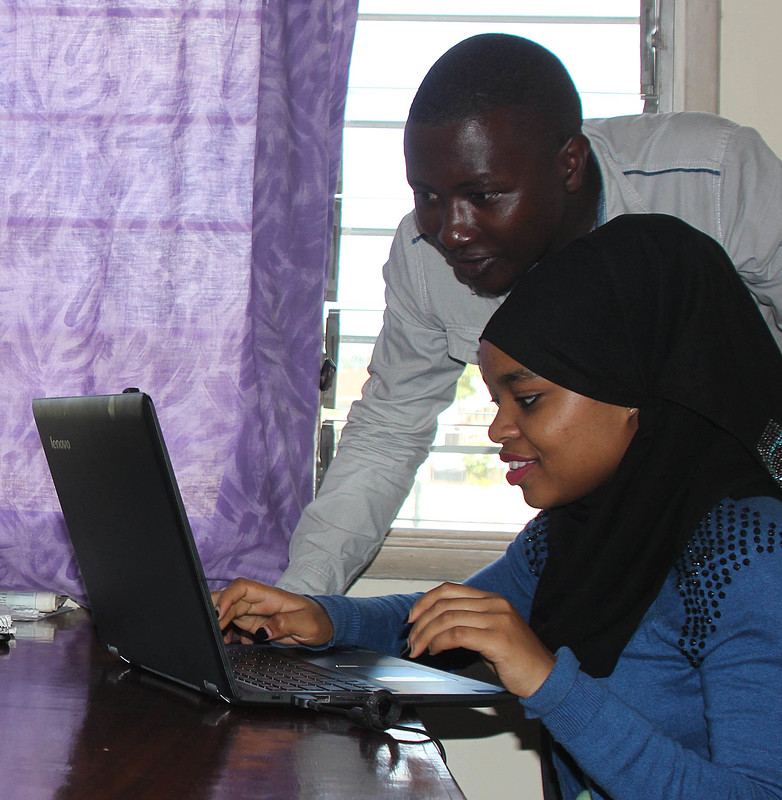 Steven Njoki and Faith Mumo both work for Karibu Loo. He is the sales and operations manager and she is a receptionist. Mumo is a graduate of the NRCA program and is now doing post-graduate studies.