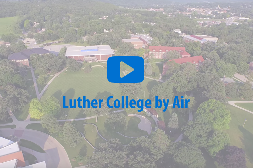 Graphic promoting Luther College by Air video on YouTube.