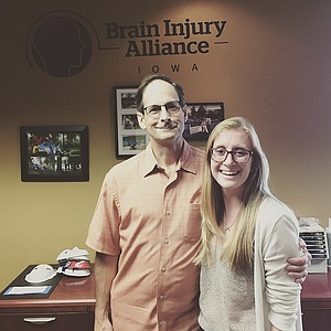 Allison Meier at her internship at Brain Injury Alliance in Iowa City.