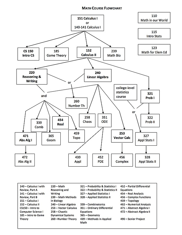 Flow chart for mathematics course offerings