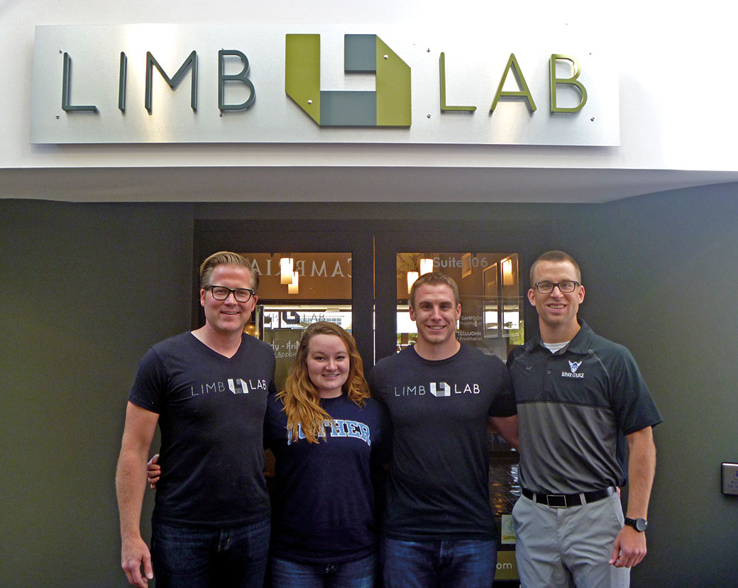 The Limb Lab team includes cofounder Brandon Sampson '98 as well as two Luther graduates. At left (from left to right): Sampson, Stoddard, and employees Trent Kerrigan '13 and Andrew Nelson '13.