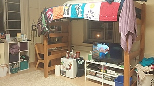 This is what my side of my dorm room looks like.