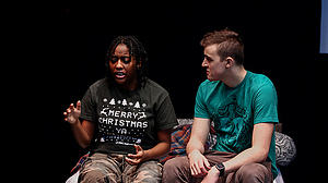 Two Luther students rehearse a scene for a JTerm theatre course.