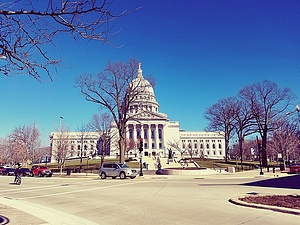 A picture of the Wisconsin Capitol building that I took while on State Street in Madison.