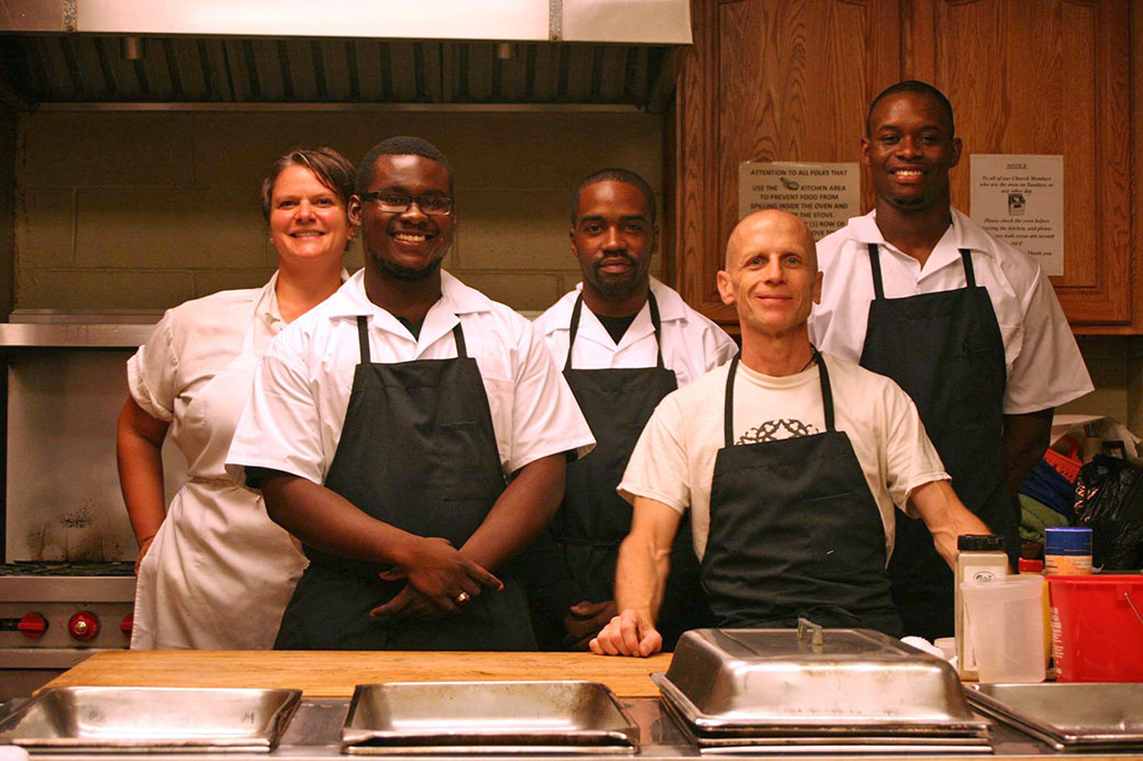 Left to right: Mandala Kitchens co-trainer chef Millicent Souris, Andre, Jamel, Daiken Nelson '85, and Leon.