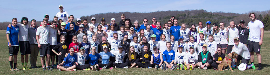 Each spring, Ultimate alumni return to campus for a game against current players. Above, Freya and Pound players pose with alumni from the teams during a reunion weekend this April. Photo by Anne Goodroad '18.