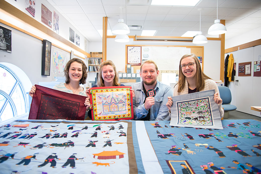 With five majors and seven minors among them, Grelecki, Christensen, Specht, and Wiebke (pictured left to right) bring their multiple disciplines to bear on the way they're able to process and understand the cultural materials. Photo by Will Heller '16.
