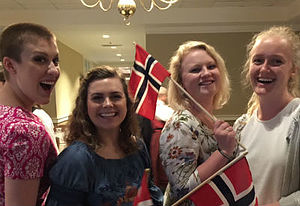 Nordic Studies majors attend the Syttende mai banquet in Minneapolis. Left to right: Lianna Stewart '17, Marissa Carius '18, Hannah Tulgren '18 and Annika Vande Krol '19.