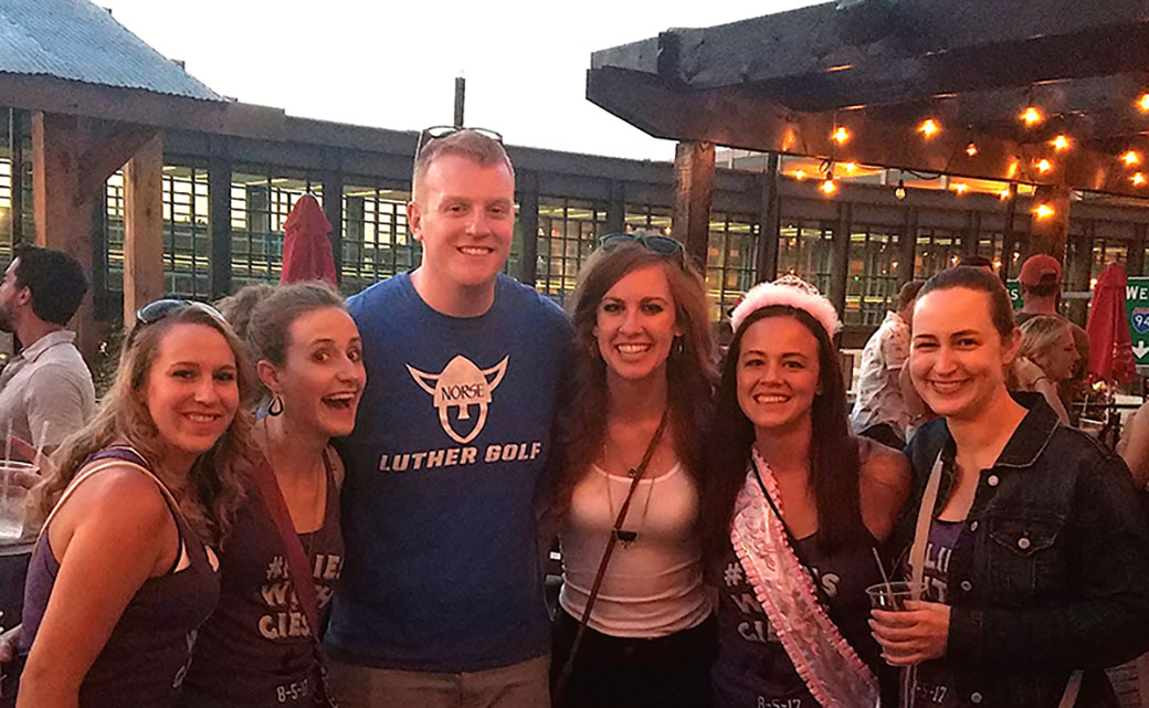 Kelsi Holmes '13 and her bachelorette party ran into Dan Blattner '14 and Kendra Moser '14 in Minneapolis.