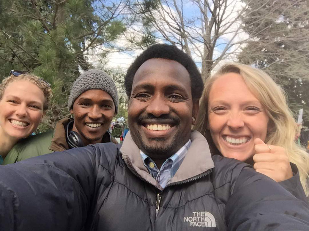 Leboy Oltimbau takes a selfie in Denver with Amanda Peck '14, Musa Kamaika, and Rachel Hodapp '13.