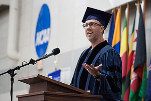 Alumnus Mike Danforth '95 speaks at Commencement.