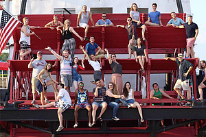 Matthew and the rest of the cast of Footloose pose for a group photo.