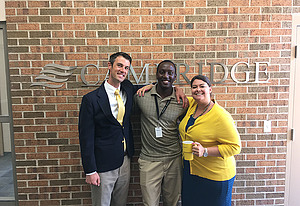 Charles Mugwagwa, Luther senior, at his summer internship with Cambridge Investment Research Inc., in Fairfield, Iowa.