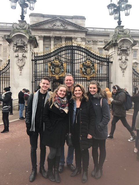 Becca and her family in front of Buckingham Palace!
