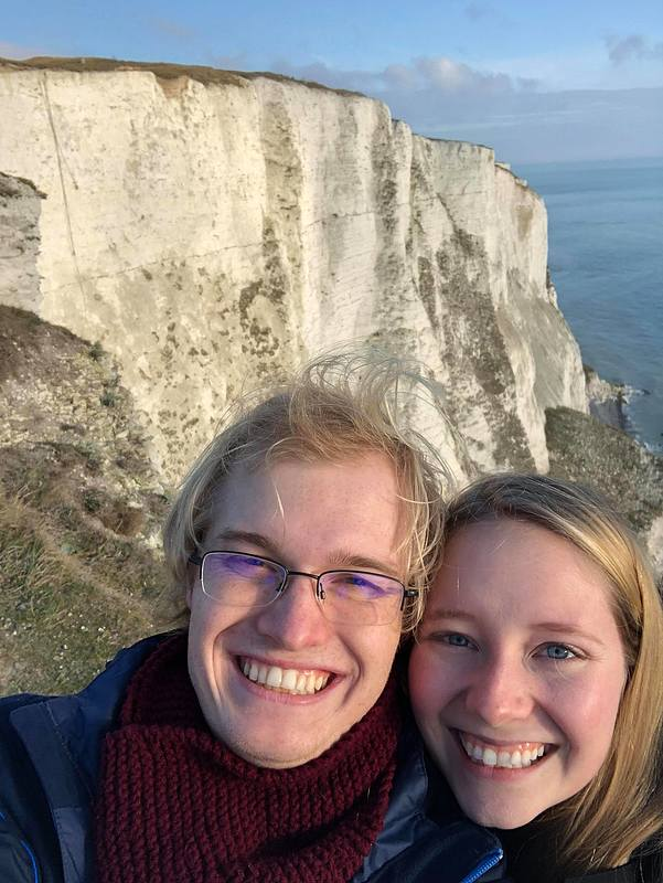 Anika and Steven from their trip to the White Cliffs of Dover.