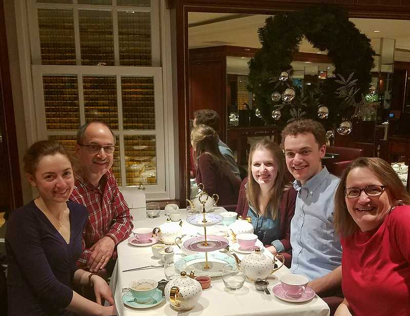 Libby with the Badger family for Christmas eve afternoon tea