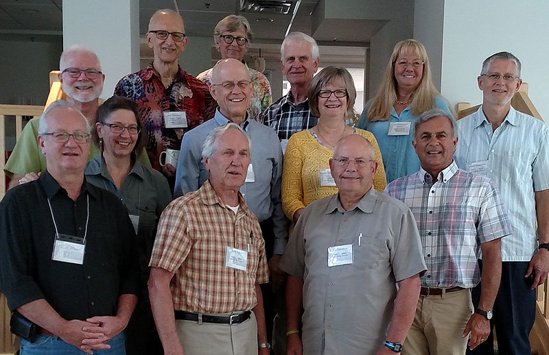 August 2017 gathering of Hothorpe Hall volunteers and spouses (front, left to right): Rick Bloxham '79, Jerry Aaker '62, Jim Leistikow '63, Randy Ouimette '71. Middle: Will Nordmark '73, Ruth (Pfeil) Bloxham '79, Bill Beyer '66, Karen (Magnuson) Ormachea '77, Denny Ofstedahl '76. Back: Ray Makeever '67, Judy (Larson) Fogdall '65, Jim Fogdall '64, Cynthia (Stenehjem) Sparks '78. (Attendees not pictured: Doug Albertson '66, Tom Erickson '77, Loren Esse '73, John Gatzlaff '66, John Lee '67, Roy Prigge '67, Vanessa Scholl Courtney, Ross Sutter '76)