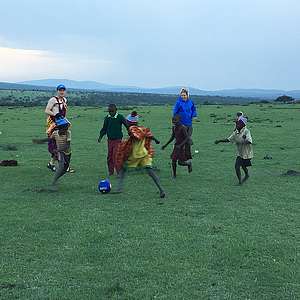 Tania playing soccer in Tanzania