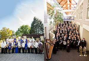 Jazz Orchestra, pictured left, and Concert Band, pictured right.