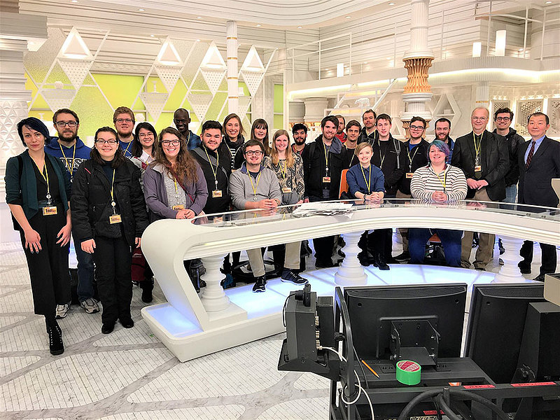 Tony Mutsune (management and economics) on a class visit to the Tokyo Broadcasting System headquarters in January 2018. The group spent their J-Term abroad engaged in a Paideia 450 course entitled Working Japan: Religion and Corporate Culture in Japan.