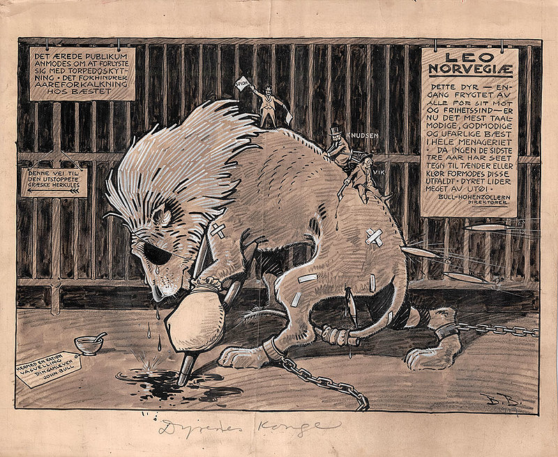 In King of the Jungle, Norway's national symbol, the lion, is starved and abused in a cage owned by Great Britain and Germany. The cartoon stands as a stark image of how Norwegians perceived their national identity after years of political, social, and economic turmoil that occurred as a result of the war.