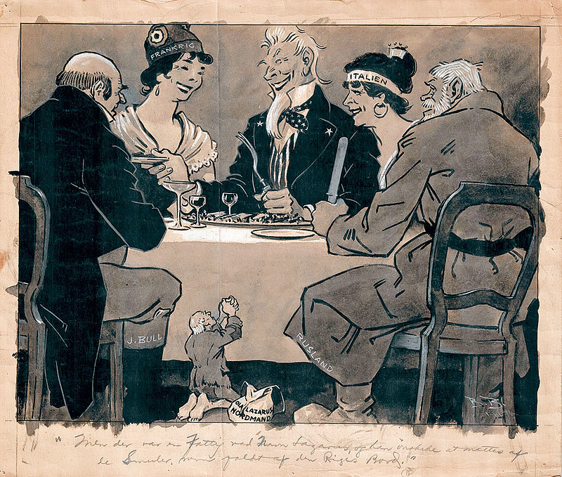 This cartoon depicts the national personifications of the Allies feasting. Uncle Sam dishes out the food, while a poor and diseased Ola Nordmann, the national personification of Norway, begs on his knees for scraps from the table. Despite signing a trade deal with the U.S., food shortages continued to ravage Norway toward the end of the war. The needs of the Allies were met first, while Norwegian interests were pushed to the periphery due to its neutral status.