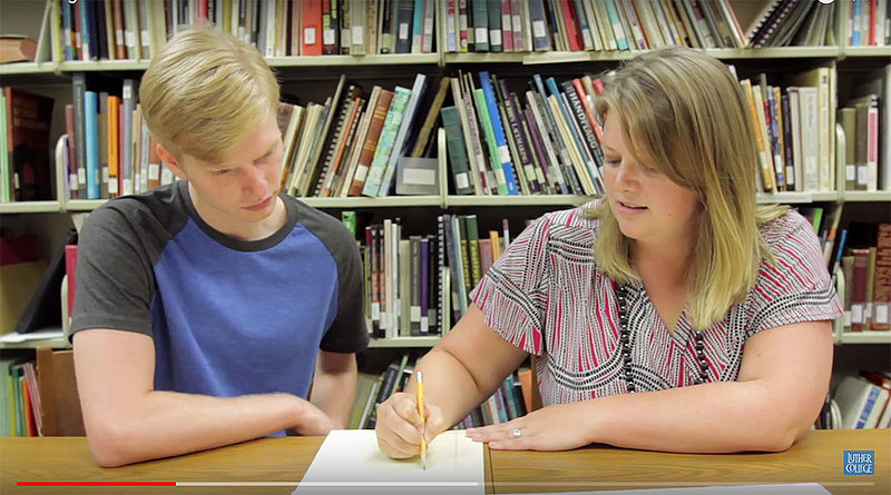 Race Fisher '19 and Anna Peterson, assistant professor of history, collaborated to research a collection of WWI Norwegian political cartoons. They published their results in January.