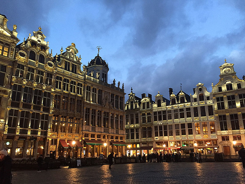 "Abbie Grinager '20, a dance and psychology double major, spent J-term 2018 in Europe with the How Soccer Explains Europe course. She took this picture at Grand Place in Brussels, Belgium, and says: ""I was amazed at the architecture, and to see it lit up at night created a special atmosphere."""