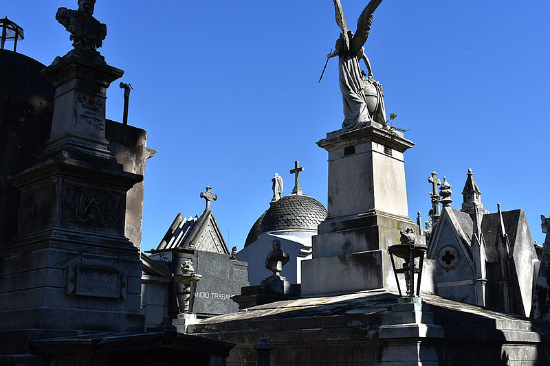 "Spanish and international studies double major Emma Johnson '20 took this photo at Cementerio de la Recoleta during the 2018 J-term course Language and Culture in Argentina. ""The concept of death is much different in Argentina,"" she writes, ""It is seen as a celebration of life. Cemeteries in that sense are decorated intricately in marvelous tombs and statues. This is the skyline of an area in the beautiful cemetery."""