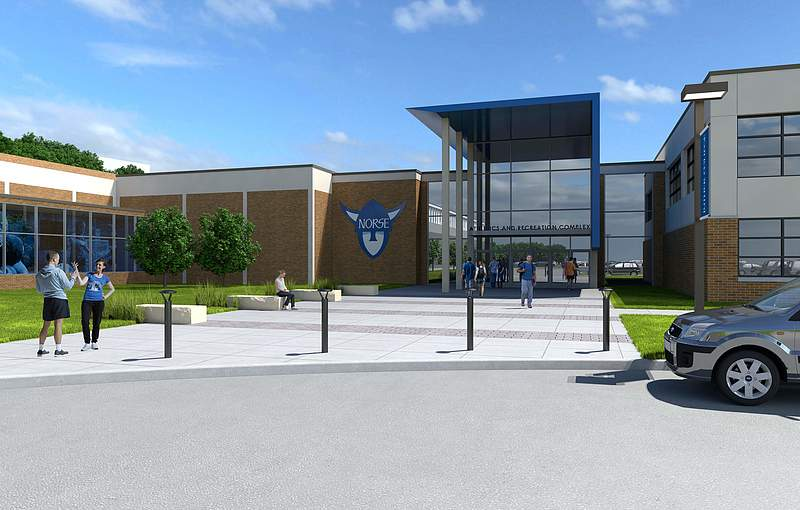 Rendering of Luther's Athletic Complex Main Entrance