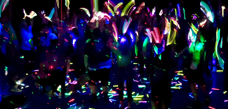 Glow sticks during power hour.