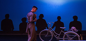 "Students perform in ""The Giver"" in the 2019 Student-Directed One-Act Play Festival."
