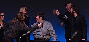 "Students perform in ""Matchgirl"" in the 2019 Student-Directed One-Act Play Festival."