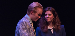 "Students perform in ""The Man Who Couldn't Dance"" in the 2019 Student-Directed One-Act Play Festival."