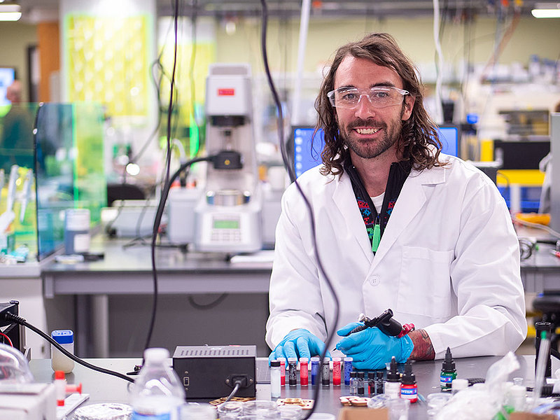 Carson Bruns '08 directs his own nanotechnology lab at the University of Colorado in Boulder, where he has