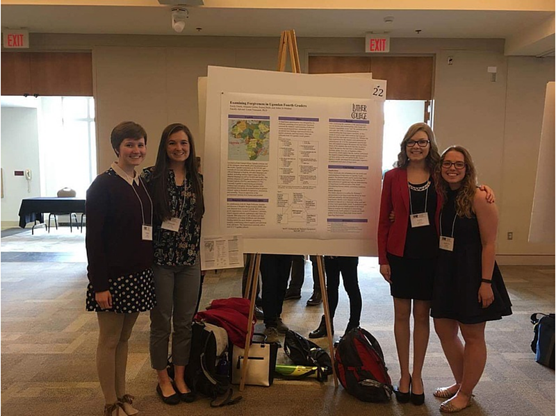 Four of the eight students who presented their research projects at the spring 2017 Minnesota Undergraduate Psychology Conference in Northfield, Minn., continuing a long tradition of presenting student-faculty research from the lab.