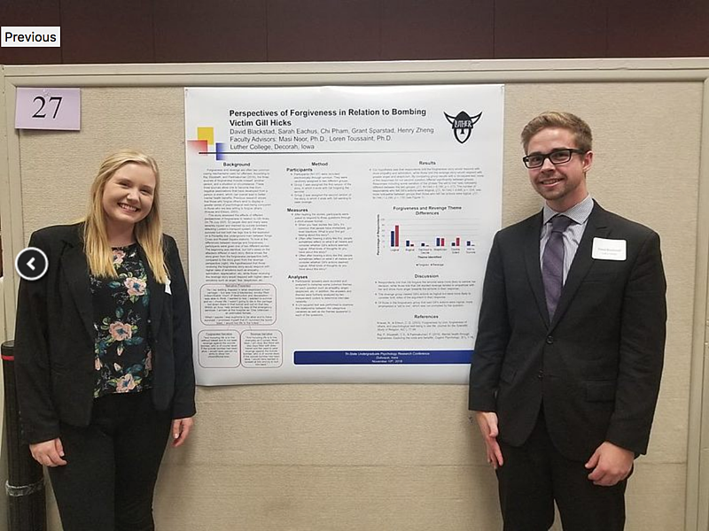 Sarah Eachus '20 and David Blackstad '19 presented their group's research last fall at the Tristate Psychology Undergraduate Conference in Dubuque, Iowa.