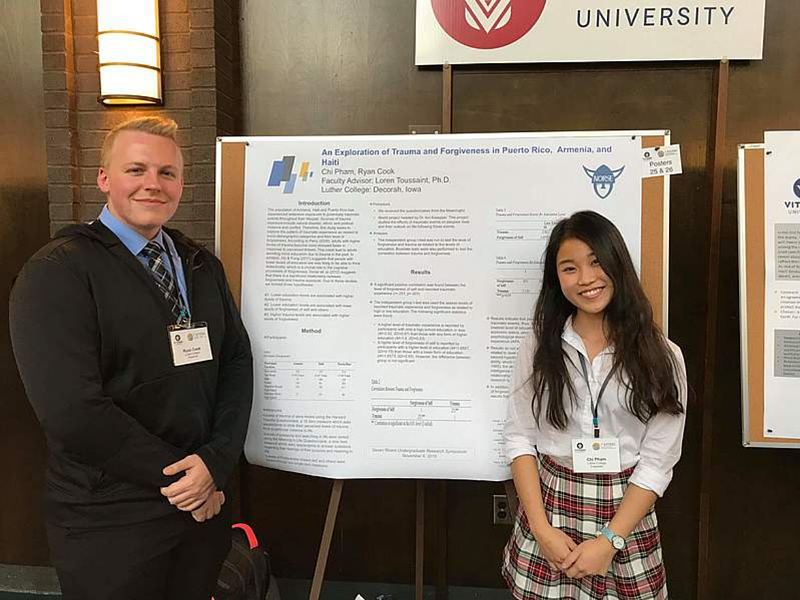 Ryan Cook '19 and Chi Pham '19 presented their findings from forgiveness data collected from three countries at the Seven Rivers Undergraduate Research Symposium in La Crosse, Wis.
