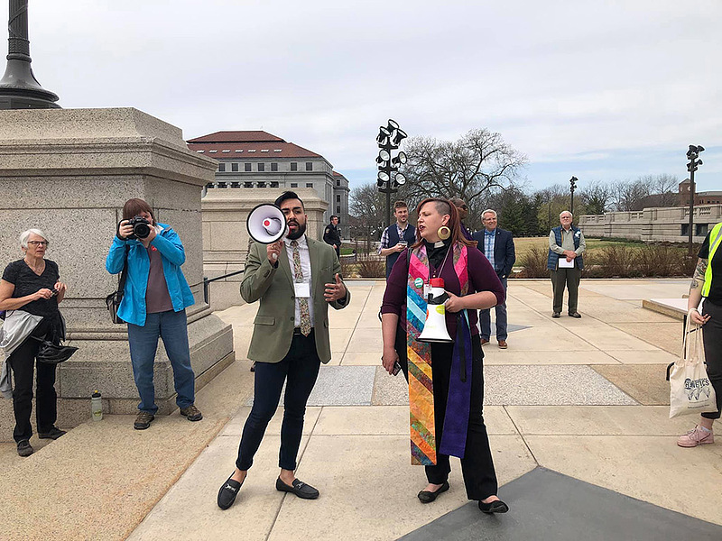 Lucero and Rev. Ashley Horan led a march to the Minnesota Senate Office Building on OutFront's LGBQT+ Lobby Day.