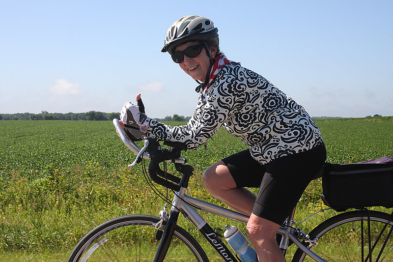 Aas did not even own a bicycle when she signed up for her first Habitat 500 ride, but she was in fine form during the ride in 2015. Photo by Renee Cosgrove.