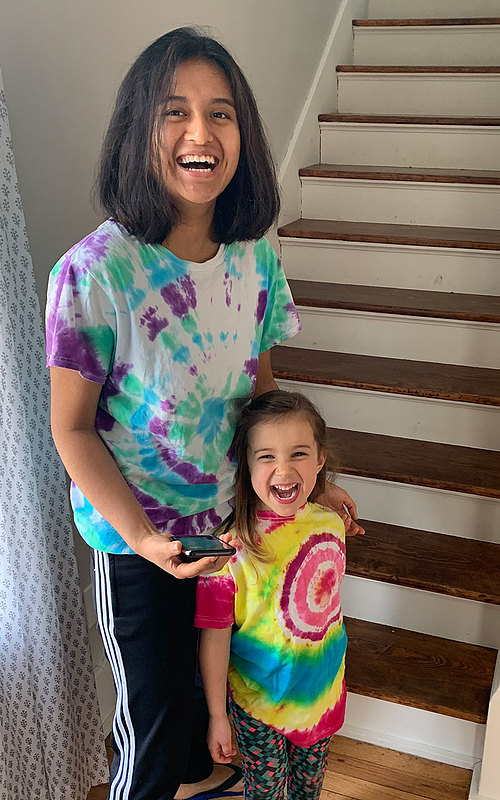 "Juni Deshar '22, pictured here with four-year-old Vera Zittergruen, didn't grow up with younger siblings and was excited to spend the past several months living with a young family. ""I always love being in a family environment,"" she says."