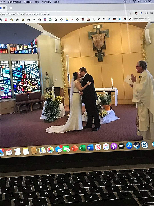 A submission to the COVID-19 archive project shows a live stream of a socially distanced wedding.